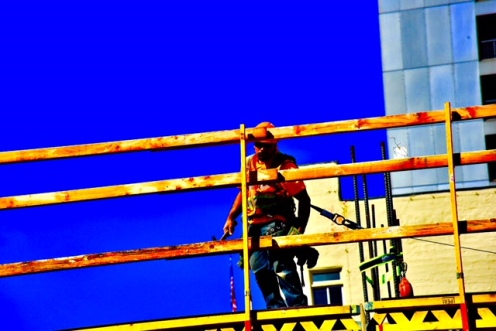 Elevated Construction Worker